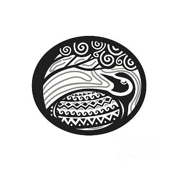 Golden Plover Looking Up Tree Oval Tribal Art by Aloysius Patrimonio