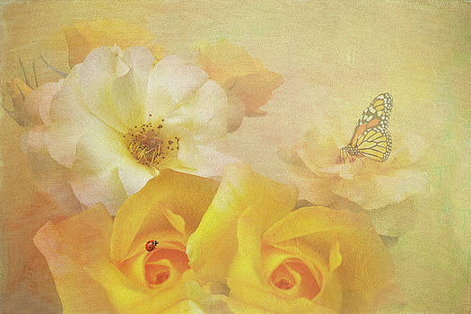 Golden Showers Yellow Roses by Diane Schuster