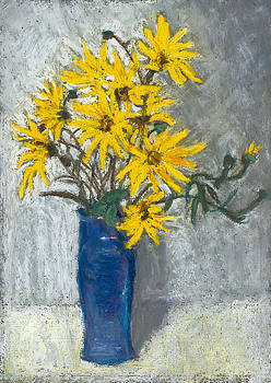 Golden Sunflowers in Blue Vase by Judy Adamson