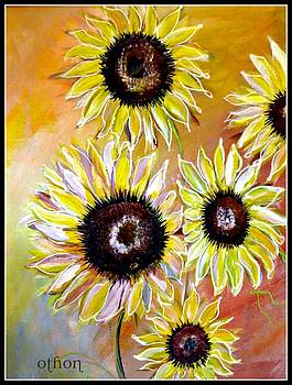 Golden sunflowers by Kathy Othon
