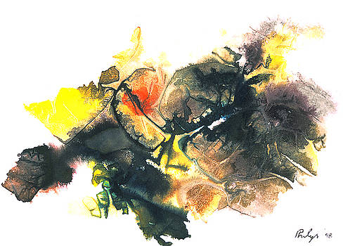 GORILLA an unusual and dramatic abstract in yellow and black by Phil Albone