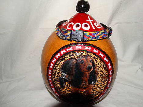 gourd ash urn for Scooter by Sandra Durning