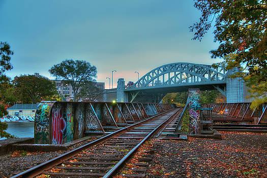Graffiti on Train Tracks Under the BU Bridge - Cambridge by Joann Vitali