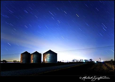 Grain Bins and Star Trails by Melinda Swinford