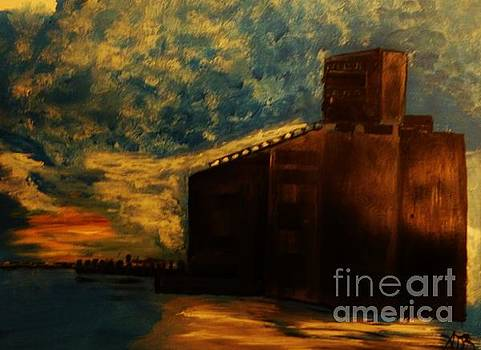 Grain Elevator on Lake Erie From a Photo by Nicole Bulger by Marie Bulger