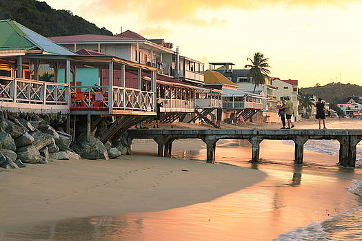 Grand Case Waterfront at Sunset, St. Martin by Roupen  Baker