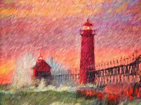 Grand Haven Stormy Lighthouse by John Farr