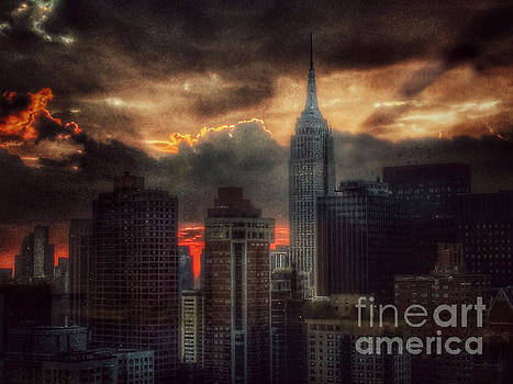 Grandeur of the Past - Empire State at Sunset by Miriam Danar