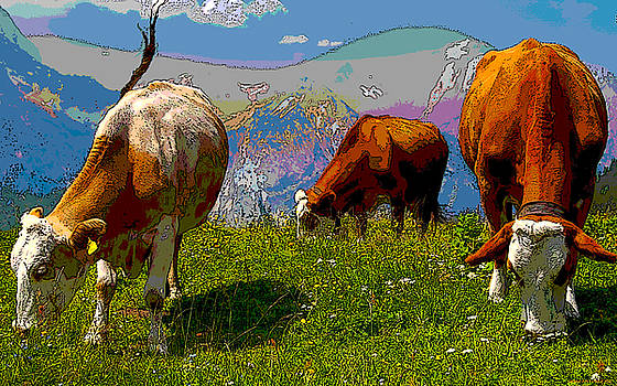 Grazing Cows by Charles Shoup
