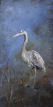 Great Blue Heron in Blue by Carolyn Doe