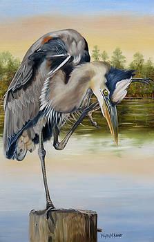 Great Blue Heron On The Jordan River by Phyllis Beiser
