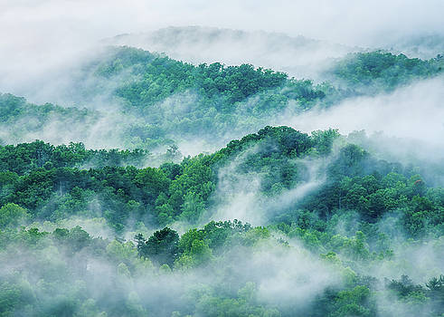 Great Smoky Mountains TN Smoke And Ridges  by Robert Stephens