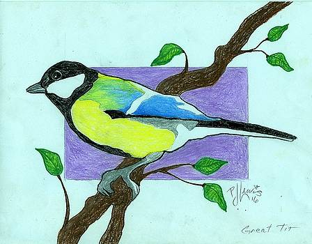 Great Tit Bird by P J Lewis