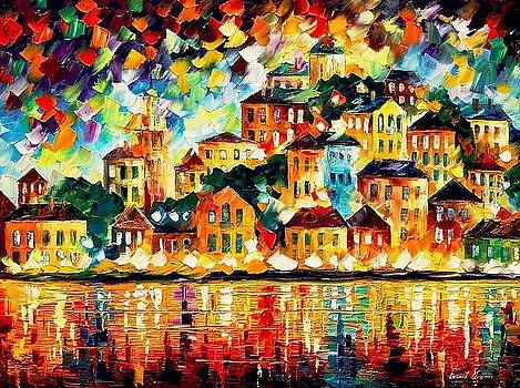 Greek Harbor At Night - PALETTE KNIFE Oil Painting On Canvas By Leonid Afremov by Leonid Afremov