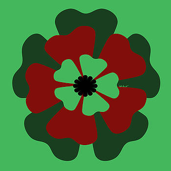 Kate Farrant - Green and red Flower