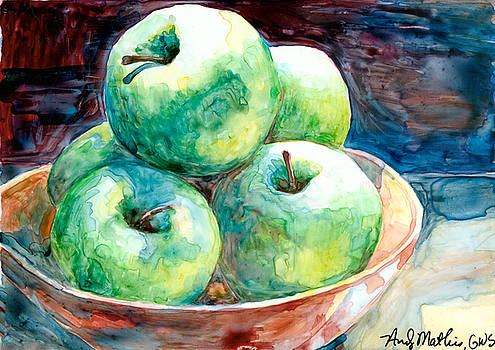 Green Apples on Yupo by Andy  Mathis