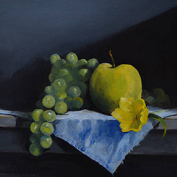Green Fruit and Single Yellow Flower   by Rich Alexander