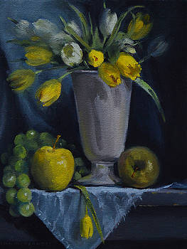 Green Fruit with White and Yellow Flowers by Rich Alexander