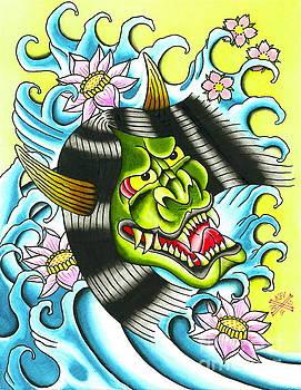 Green Hannya Mask by Kev G