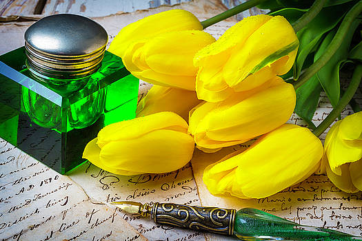 Green Ink Well And Yellow Tulips by Garry Gay