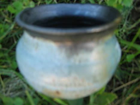 Green Jar with black rim by Julia Van Dine