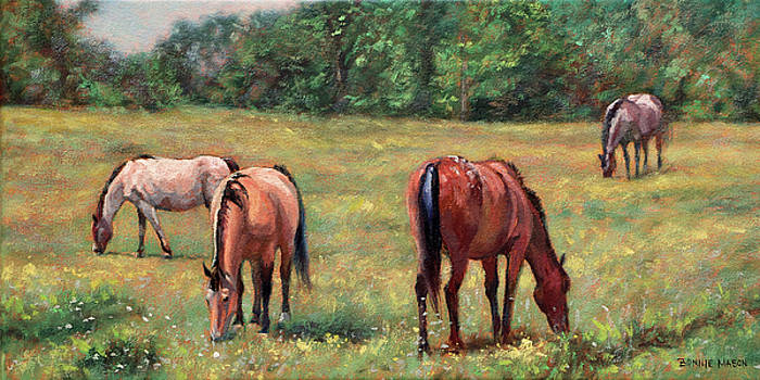 Green Pastures - Horses Grazing in a Field by Bonnie Mason