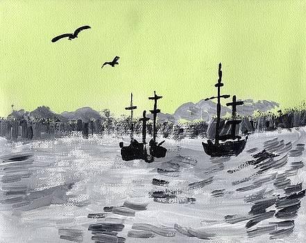 Green Sky Ships at Sea  by Rosemary Mazzulla
