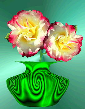 Joyce Dickens - Green Wave Vase And Roses