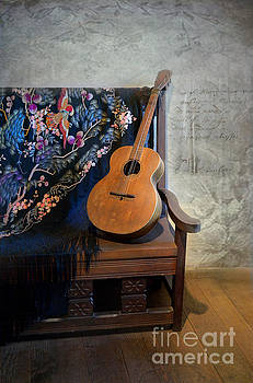 Guitar on a Bench by Scott Parker