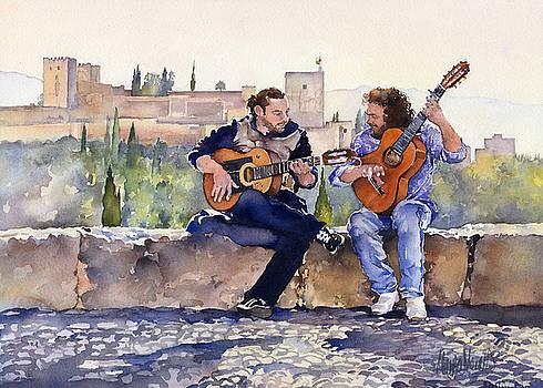 Guitarists En Plaza San Nicolas Granada by Margaret Merry