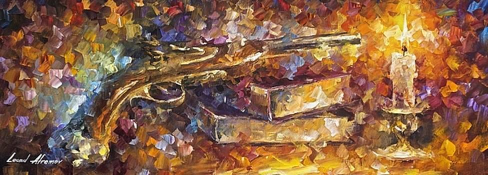 Gun Of Wisdom - PALETTE KNIFE Oil Painting On Canvas By Leonid Afremov by Leonid Afremov