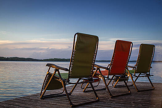 Hackensack Minnesota Lawn Chairs on Dock at Sunset by Toni Thomas