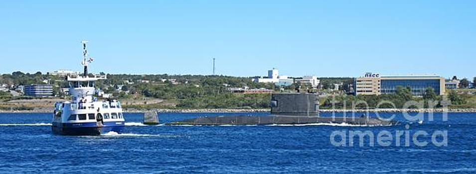 Halifax Passenger Ferry Waits for the Submarine HMCS Windsor to Pass By by John Malone