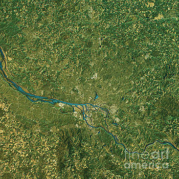 Hamburg Topographic Map Natural Color Top View by Frank Ramspott