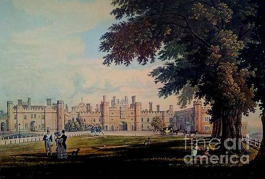 Hampton Court Palace England Original Lithograph 1827 by Michael Hoard
