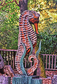 Hand Carved - Seahorse 001 by George Bostian