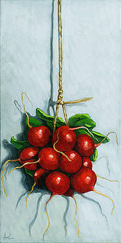 Hanging Around - radishes still life painting by Linda Apple