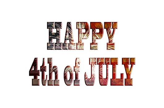 Happy 4th of July with Fireworks Grunge Text Outline by Jit Lim