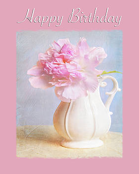 Happy Birthday Pink Peony by Daphne Sampson