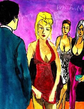 Happy Hour Man 3 Women by Harry WEISBURD