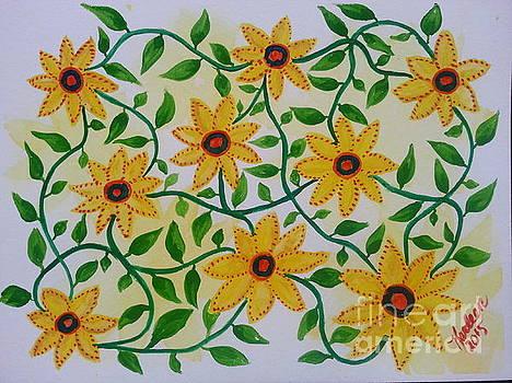 Happy Yellow Flowers by Karleen Kareem