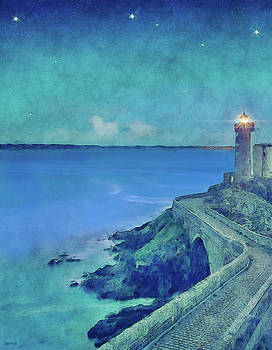 Harbor Lighthouse At Dusk by Phil Perkins
