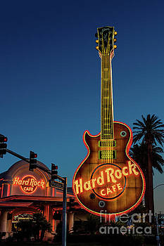 Hard Rock Cafe and Guitar at Dawn by Aloha Art