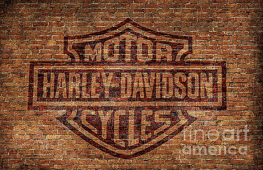 Harley Davidson Logo Red Brick Wall by Randy Steele