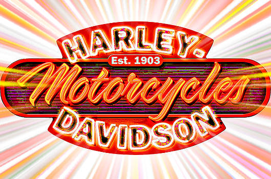 Harley Davidson Motorcycles Neon Sign by Mike Rabe