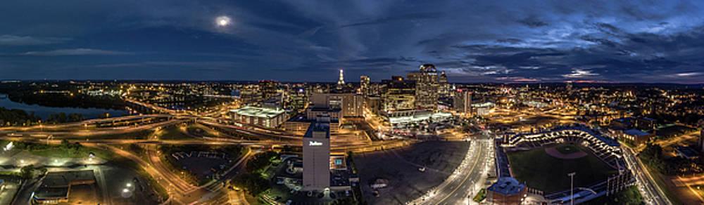 Hartford CT Night Panorama by Petr Hejl