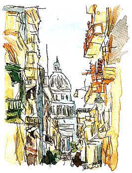 Havana Street View with Parliament Watercolor  by M Bleichner