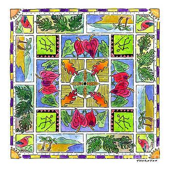 Hawaiian Mandala IV - ANTHURIUMS by Diane Thornton