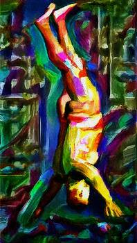 Headstand naked unconventional figure portrait painting bright colorful gymnastics old man nude male men athletic stomach fat feet head hands rainbow by MendyZ
