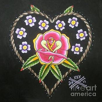 Heart and Rose by Kev G